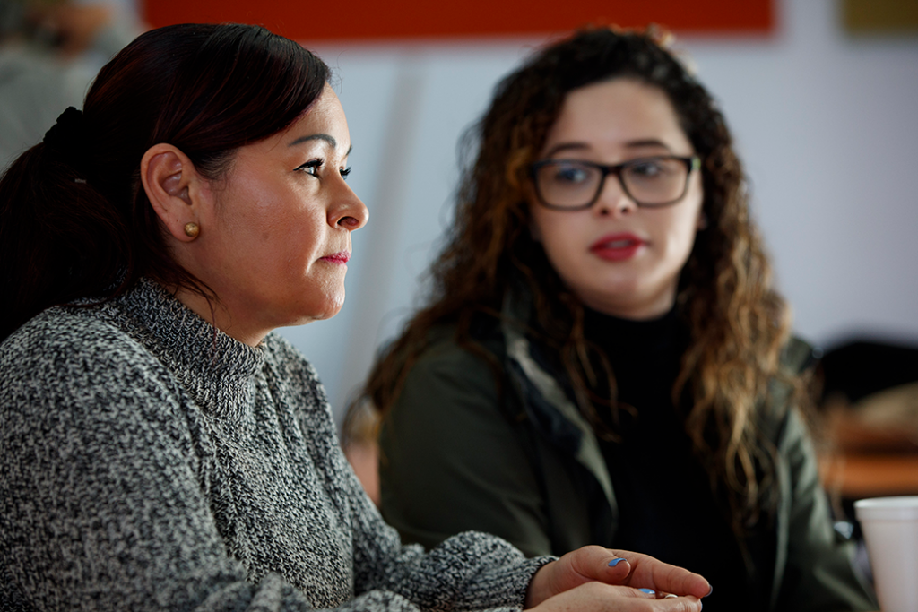 A U.S. citizen and her mother, a refugee from El Salvador protected under Temporary Protected Status (TPS), attend a legal clinic in Somerville, Massachusetts, January 2018.