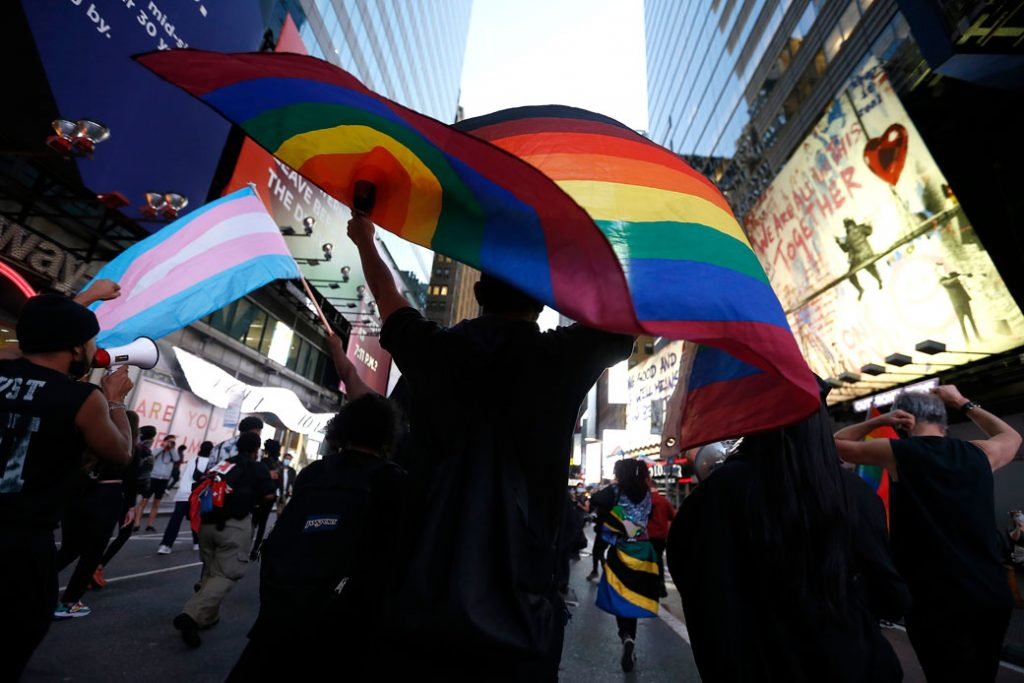 Protestors march in support of transgender lives during a demonstration in New York City, October 2020.