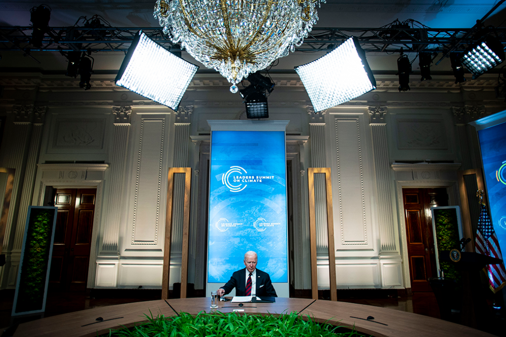 U.S. President Joe Biden listens during a virtual Leaders Summit on Climate with 40 world leaders, April 2021.