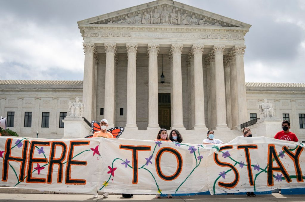 DACA recipients and their supporters rally outside the U.S. Supreme Court, June 2020.