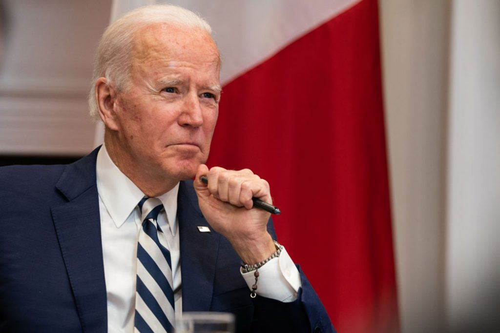 President Joe Biden looks on during a virtual meeting with Mexican President Andrés Manuel López Obrador at the White House on March 1, 2021, in Washington, D.C.