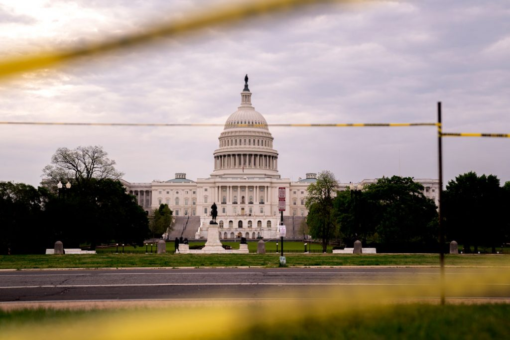 The U.S. Capitol is seen through caution tape on April 29, 2021, in Washington, D.C.
