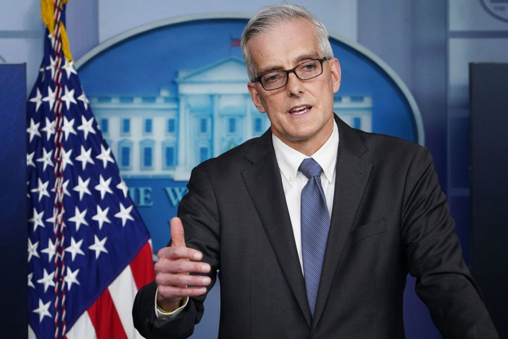 U.S. Secretary of Veterans Affairs Denis McDonough speaks during a press briefing on March 4, 2021, at the White House in Washington, D.C.