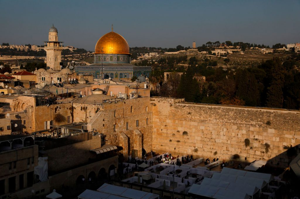Jerusalem's Western Wall, the Dome of the Rock, and Al-Aqsa mosques, December 2020.