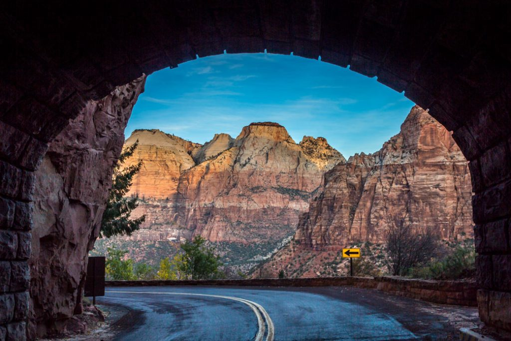 Steep rock outcroppings are seen from the Zion-Mount Carmel Highway Tunnel on November 6, 2018, in Zion National Park, Utah.