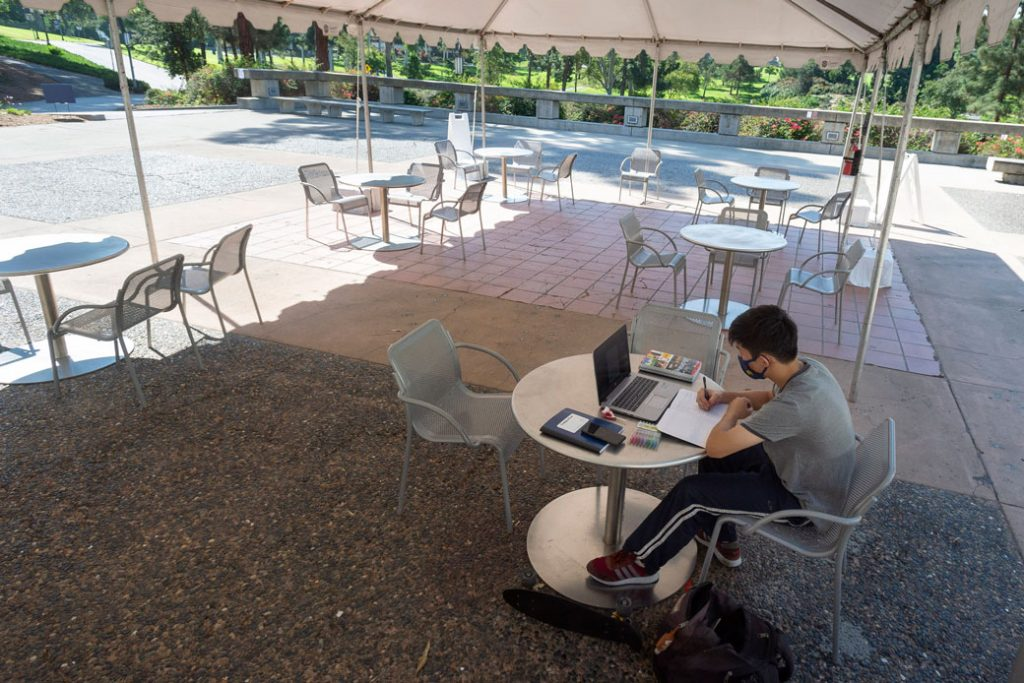 A student has a tented study area to himself, October 2020.