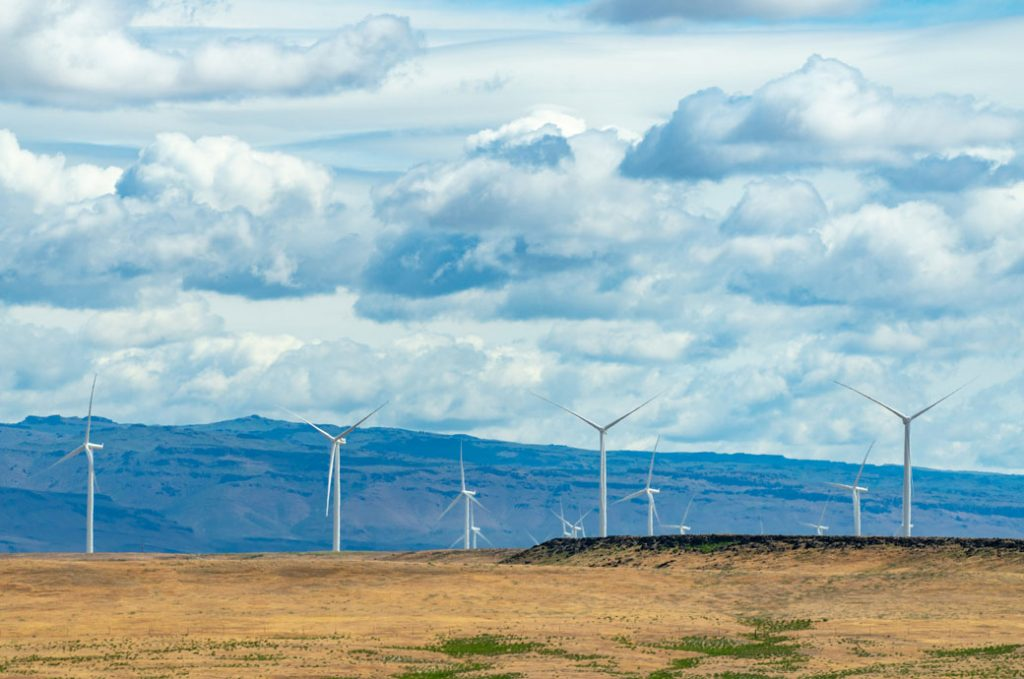 General view of an electric wind farm outside Boise, May 2021.
