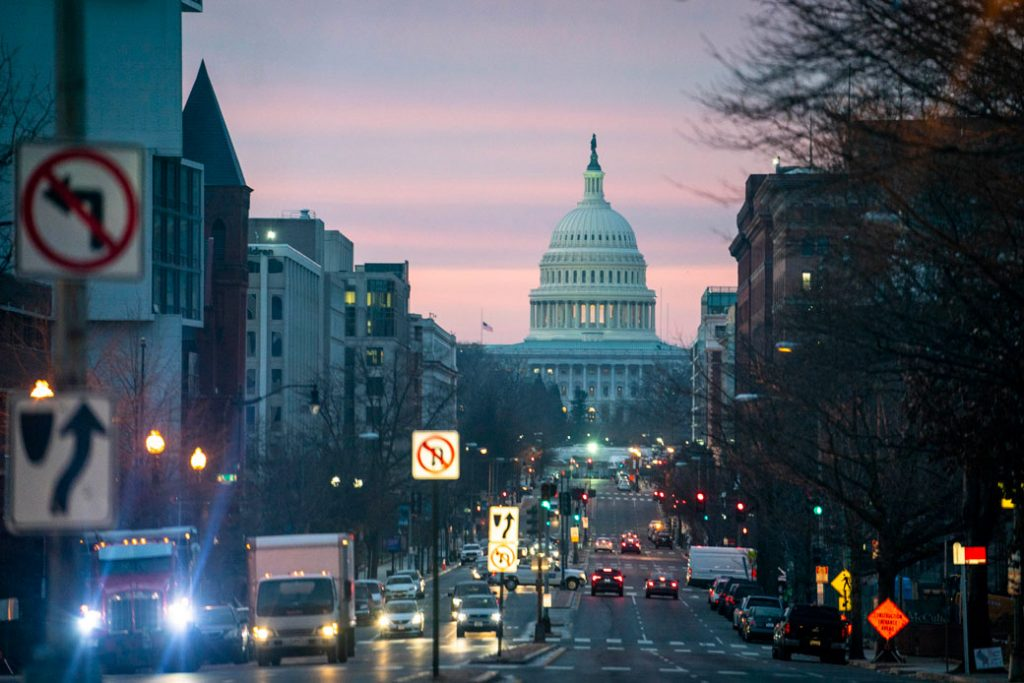 The U.S. Capitol is seen at sunrise on February 10, 2021.
