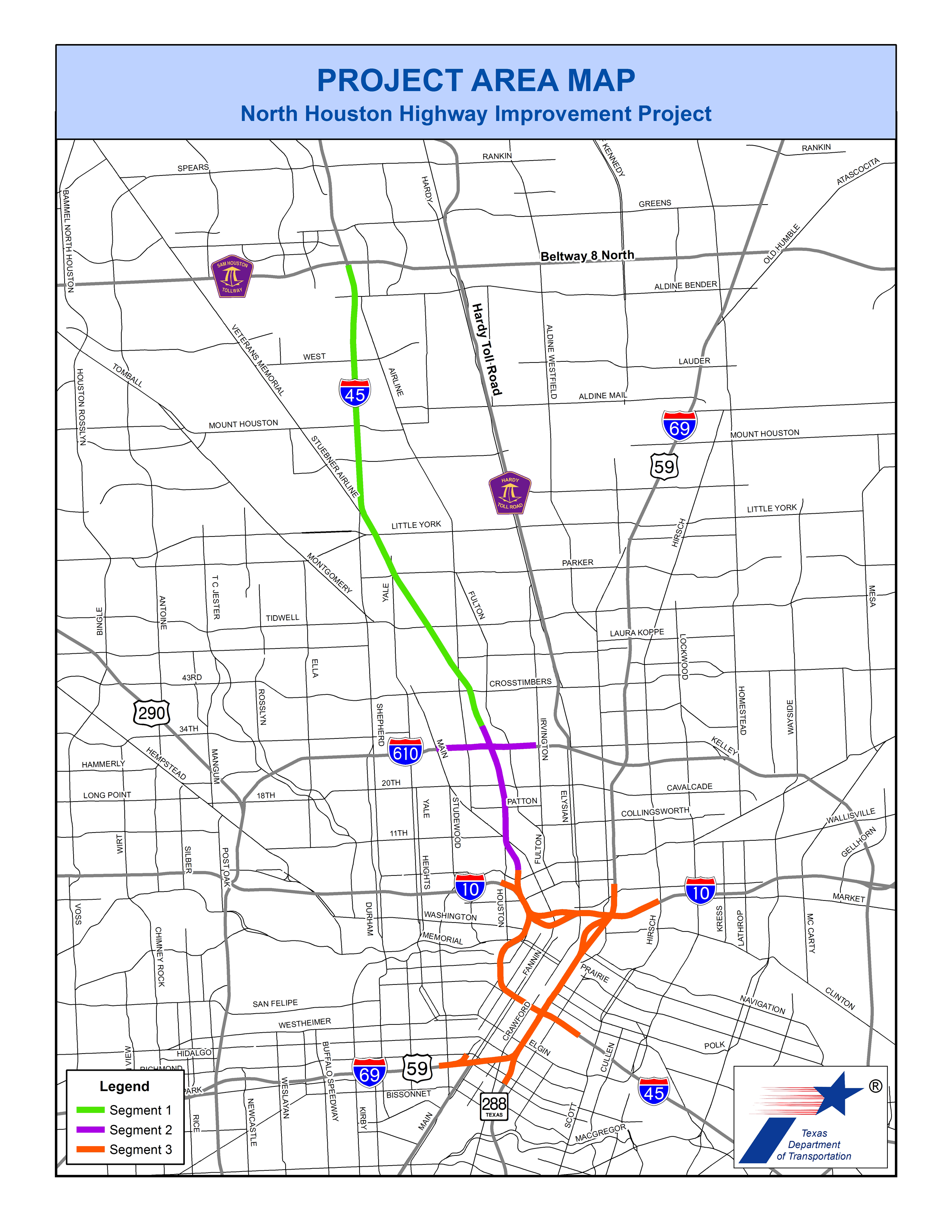 Map of I-45 North Houston Highway Improvement Project. Map courtesy of the Texas Department of Transportation.