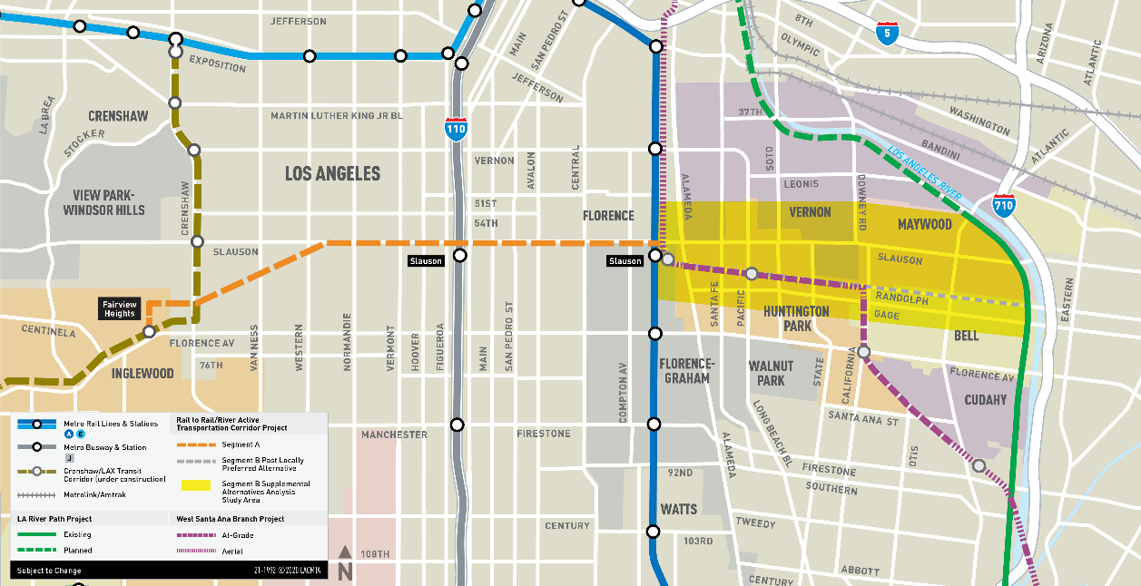 Rail-to-River project map. Map courtesy of LA Metro.