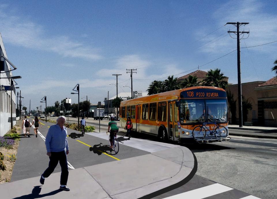 Rendering of bike and pedestrian path. Rendering courtesy of LA Metro.