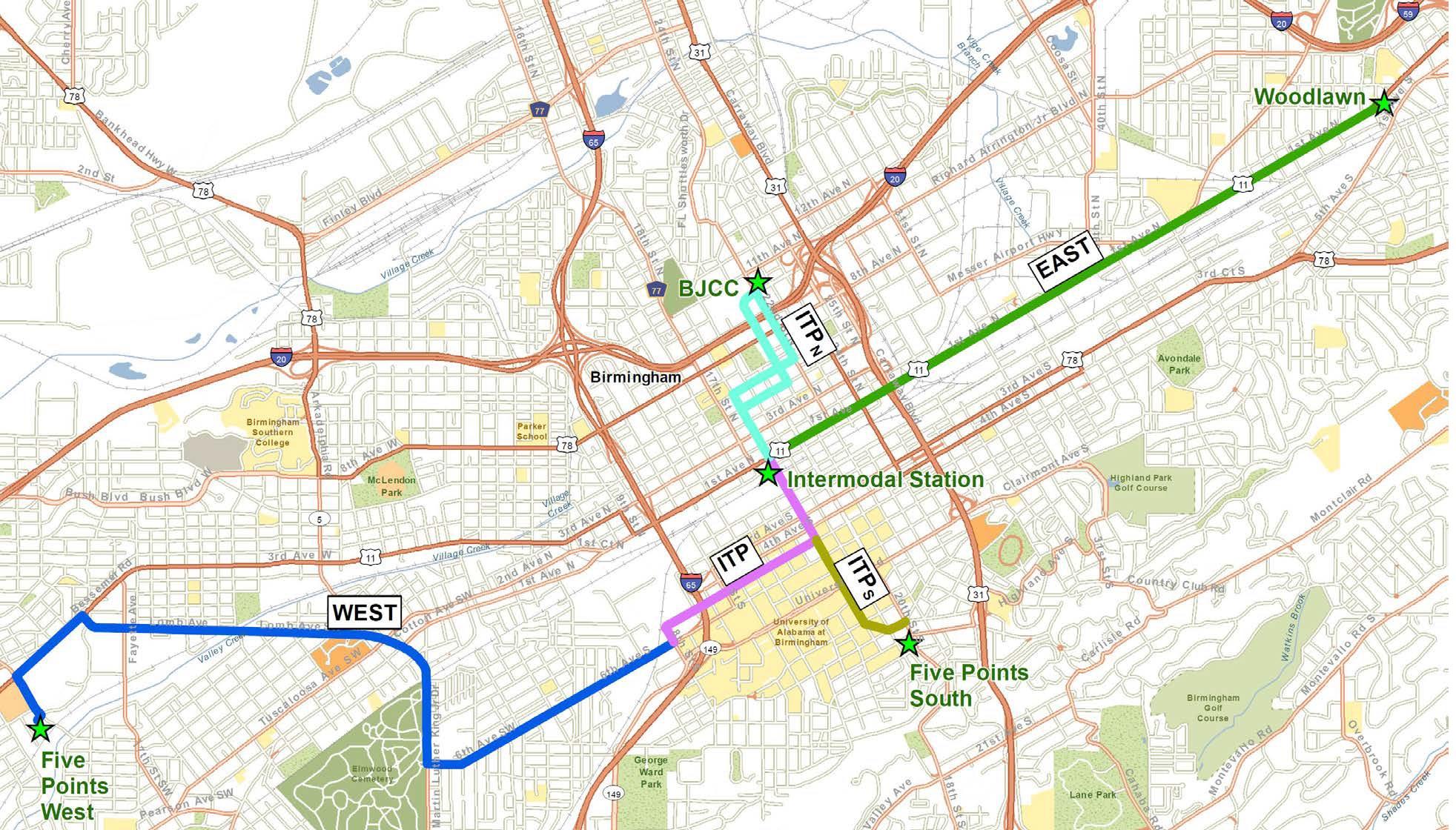 Birmingham Express bus rapid transit corridor. Map courtesy of the city of Birmingham.