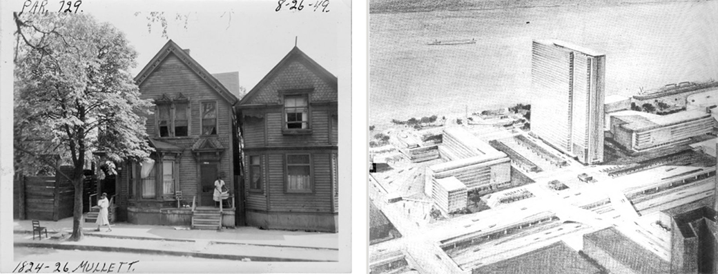 <strong>Left:</strong> Photo showing a home on Mullett Street in the Black Bottom neighborhood prior to construction of I-375/I-75. Photo courtesy of the Burton Historical Collection of the Detroit Public Library. <strong>Right:</strong> Rendering of Detroit as envisioned by the city of Detroit for postwar redevelopment. Rendering is courtesy of the University of Michigan via the HathiTrust Digital Library.