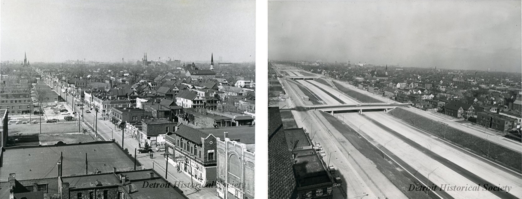 <strong>Left:</strong> Black Bottom neighborhood in Detroit in 1959 prior to construction of I-375/I-75 <strong>Right:</strong> Photo of the newly completed I-75. These photos are courtesy of the Detroit Historical Society.