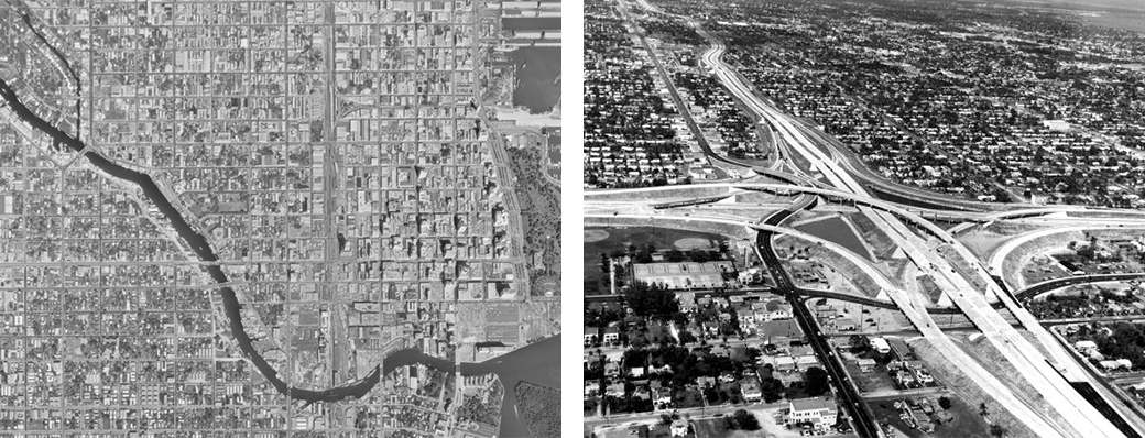 <strong>Left:</strong> City of Miami prior to I-95 construction. Photo courtesy of the U.S. Geological Survey and the University of Oklahoma Institute for Quality Communities <strong>Right:</strong> I-95 construction in Overtown, Miami. Photo courtesy of the Florida Department of State, Division of Library and Information Sciences.