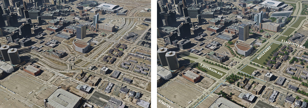<strong>Left:</strong> The existing I-375 corridor. Photo courtesy of the Michigan Department of Transportation.<strong> Right:</strong> Rendering of proposed boulevard conversion project. Rendering courtesy of the Michigan Department of Transportation.