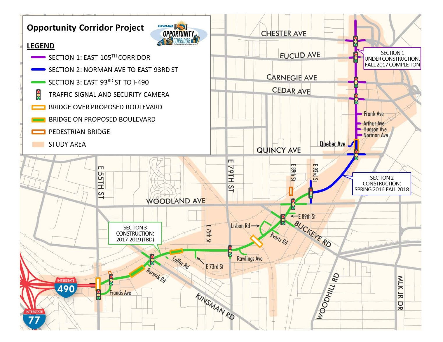 Map of the Opportunity Corridor in Cleveland. Rendering courtesy of the Ohio Department of Transportation.