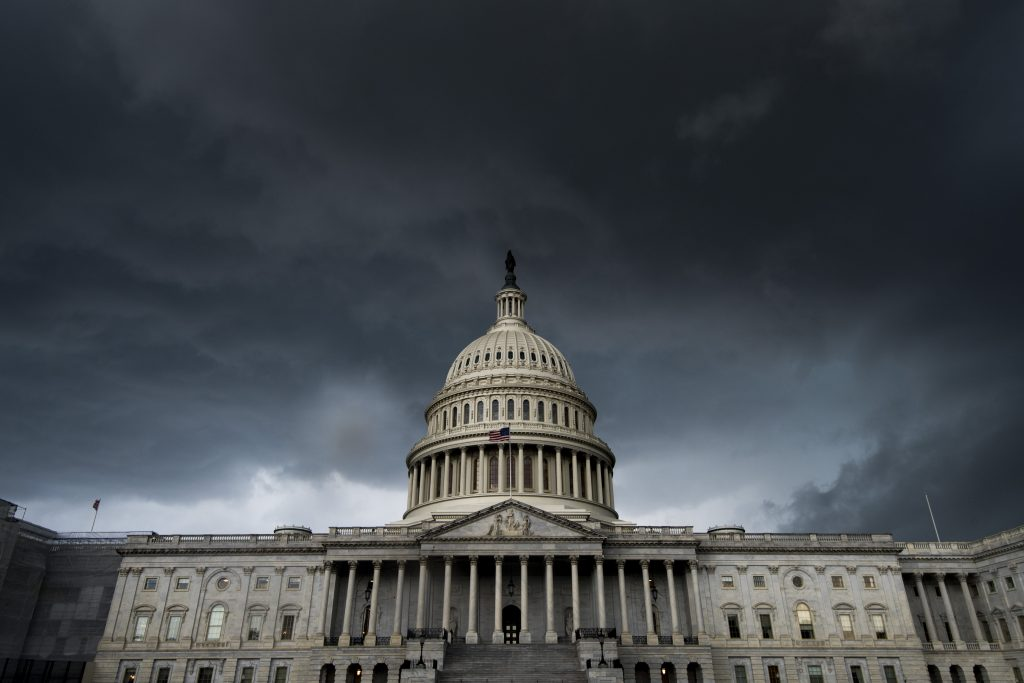 A thunderstorm passes over the U.S. Capitol, July 2019.