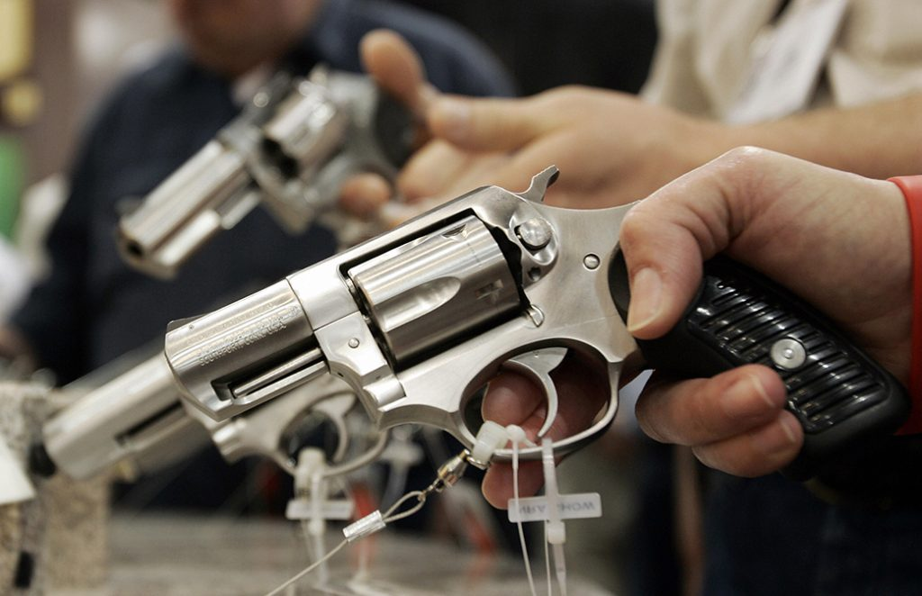 A revolver on display during a National Rifle Association convention in Milwaukee, May 2006.