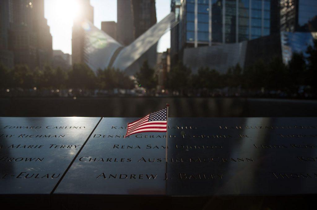 An American flag is left at the National September 11 Memorial, September 2017.
