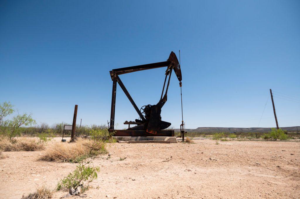 A pumpjack pumps oil, April 2021.