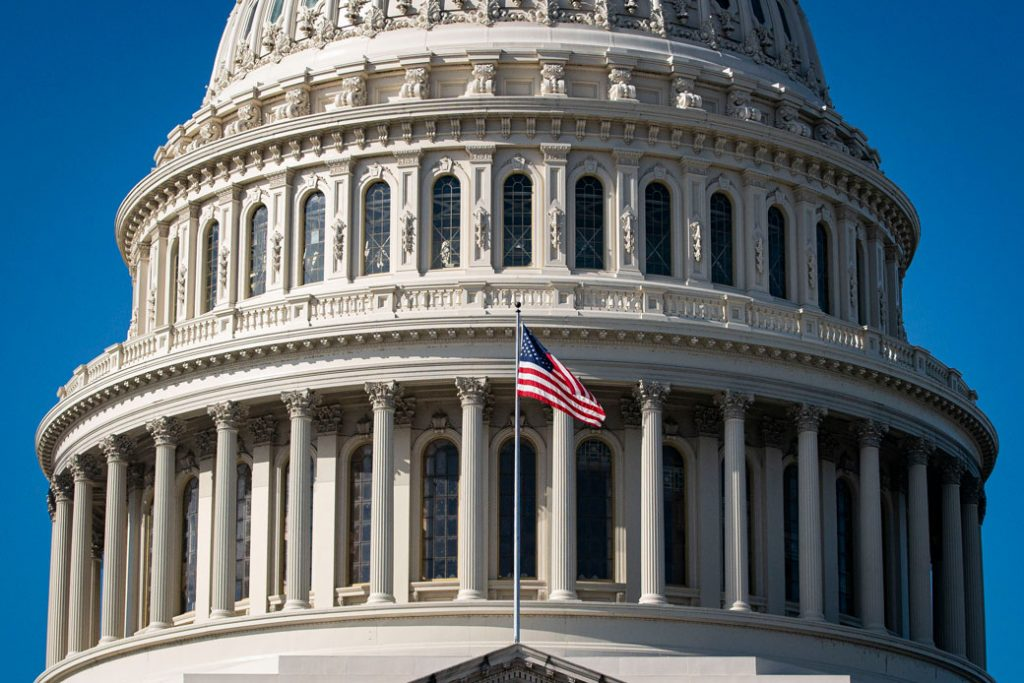 The American flag flies at the U.S. Capitol building in Washington, D.C., November 2020.