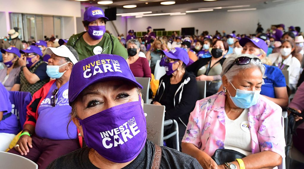 Long-term caregivers and supporters rally in Los Angeles on July 13, 2021, for greater federal and local investment in the country's caregiving infrastructure.