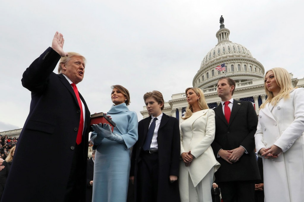 President Donald Trump takes the oath of office on January 20, 2017, in front of the U.S. Capitol.