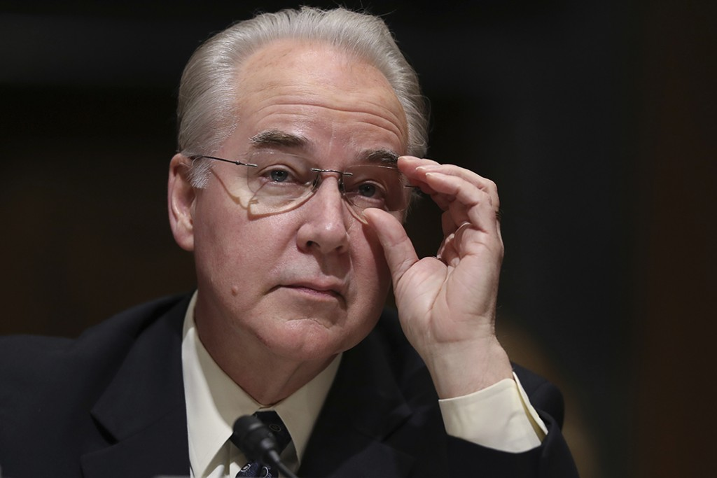 Nominee for Health and Human Services Secretary Rep. Tom Price (R-GA) pauses while testifying on Capitol Hill in Washington, January 24, 2017, at his confirmation hearing before the Senate Finance Committee.