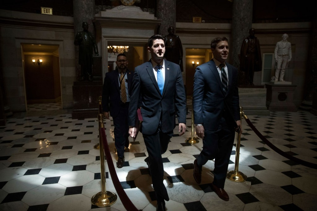 House Speaker Paul Ryan (R-WI) walks to the House chamber on Capitol Hill in Washington, May 4, 2017.
