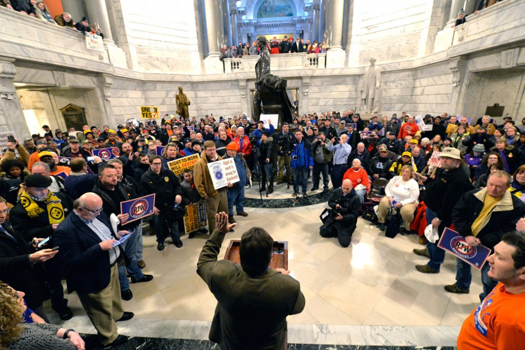 Union leaders speak to protesters of Kentucky H.B. 1 in the Kentucky Capitol rotunda, January 7, 2017.
