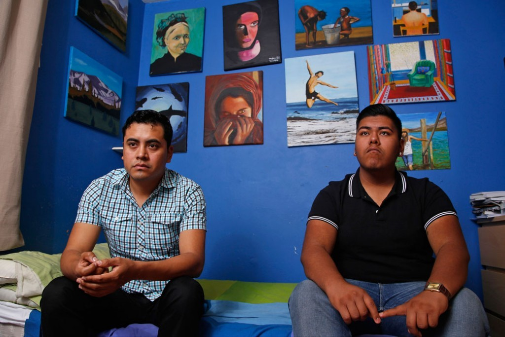 Young immigrants from Mexico pose for a portrait at their home in Paramount, California.