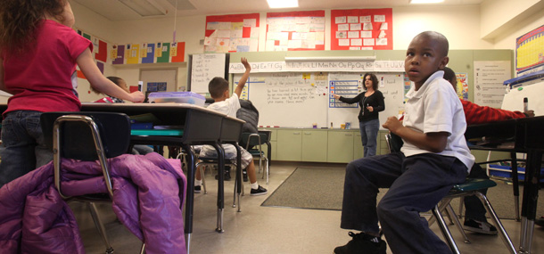AP/Rich PedroncelliTeacher Lori Peck Goes Over Sentence Structure At Grace  L. Patterson Elementary School In Vallejo, California.