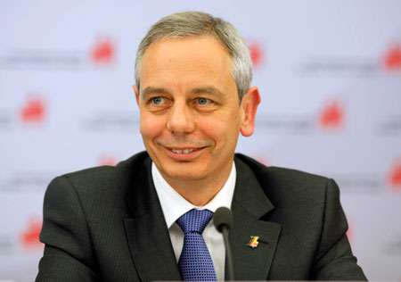 Michael Vassiliadis, president of Germany's industrial union for Mine,  Chemical and Energy Workers, or IG BCE, and the newly created European  trade union federation IndustriAll, credits strong unions and culture of dialogue with business as the keys to Germany's relative weathering of the global financial crisis.