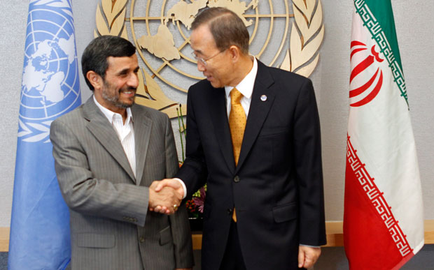 U.N. Secretary General Ban Ki-moon, right, meets Iranian President Mahmoud Ahmadinejad, left, in 2010 at U.N. headquarters. The upcoming Non-Aligned Movement conference in Tehran is a good opportunity to get Iran to focus on human rights.