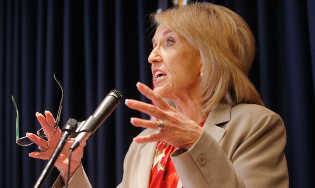 Arizona Gov. Jan Brewer (R) responds to President Obama's immigration speech in June 2012. Gov. Brewer issued an executive order earlier this month that would deny state benefits to DREAMers in her state.