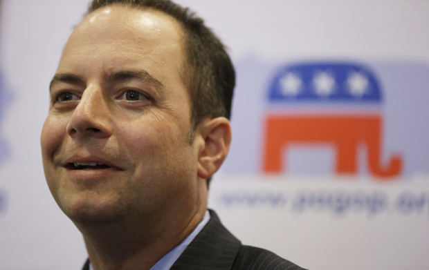 Republican National Committee Chairman Reince Priebus listens to a speaker during a news conference, Thursday, July 19, 2012, in Philadelphia.