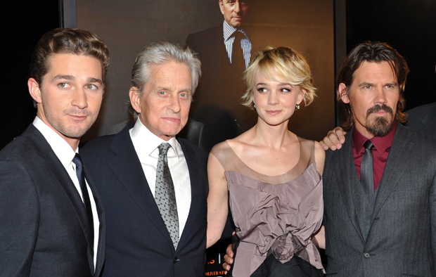 "Actors, from left, Shia LaBeouf, Michael Douglas, Carey Mulligan, and Josh Brolin attend the premiere of ""Wall Street: Money Never Sleeps"" at the Ziegfeld Theatre in New York. A recent article from writer Jonathan Chait posits that the ""Wall Street"" sequel, among other movies and TV shows, represents ""a pervasive, if not total, liberalism"" in Hollywood."