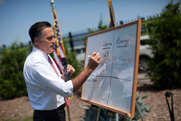 Gov. Romney writing on a whiteboard at a news conference