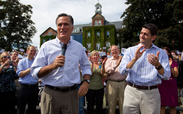 Gov. Romney and Rep. Ryan speak at a campaign event in New Hampshire