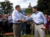 Gov. Romney and Rep. Ryan shake hands at a campaign stop in Manchester, New Hampshire.