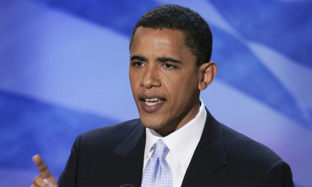 Then-Illinois State Sen. Barack Obama gives the keynote address at the Democratic National Convention on Tuesday, July 27, 2004, in Boston.