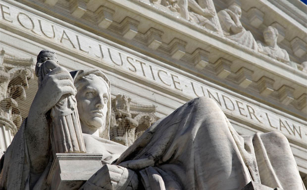 A detail of the West Facade of the U.S. Supreme Court is seen in Washington.