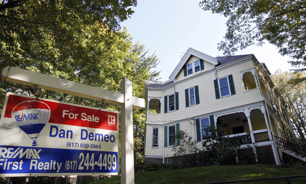 A home for sale is seen in Newton, Massachusetts.