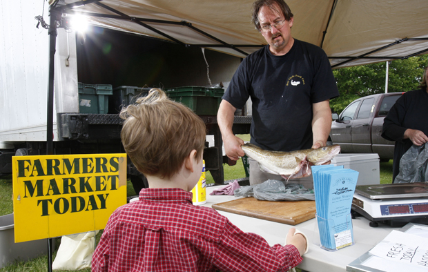 Glen Libby shows a cod fish to a youngster at the Port Clyde Fresh Catch stand at the Farmer's Market in Rockland, Maine.