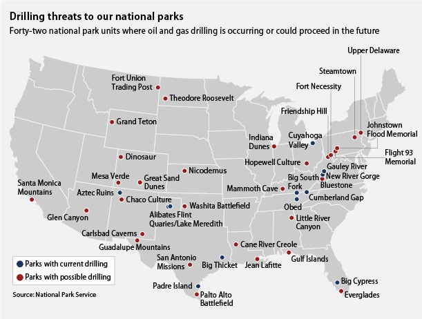 Drilling Could Threaten Our National Parks Center For American - Map of national parks in united states