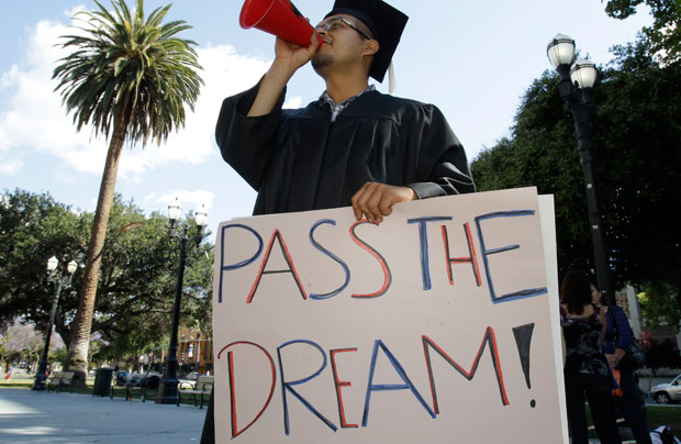 Ruben Bernal, who recently graduated from San Jose State University, rallies for the Dream Act in downtown San Jose.