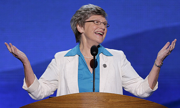 Sister Simone Campbell, executive director of NETWORK, addresses the Democratic National Convention in Charlotte, North Carolina, Wednesday, September 5, 2012.