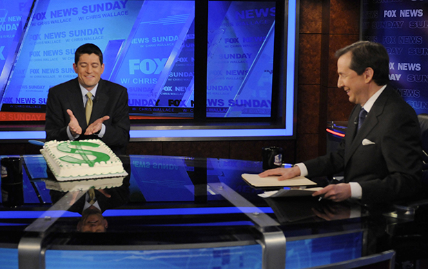 "Rep. Paul Ryan (R-WI) speaks on ""Fox News Sunday"" in Washington, Sunday, January 29, 2012. Rep. Ryan received a surprise 40th birthday cake as host Chris Wallace looks on."