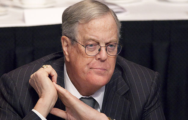 David Koch, executive vice president of Koch Industries, attends a meeting of the Economic Club of New York.Koch is just one of a group of super-rich CEOs who have issued warnings to employees that re-electing President Barack Obama may cost them their jobs.